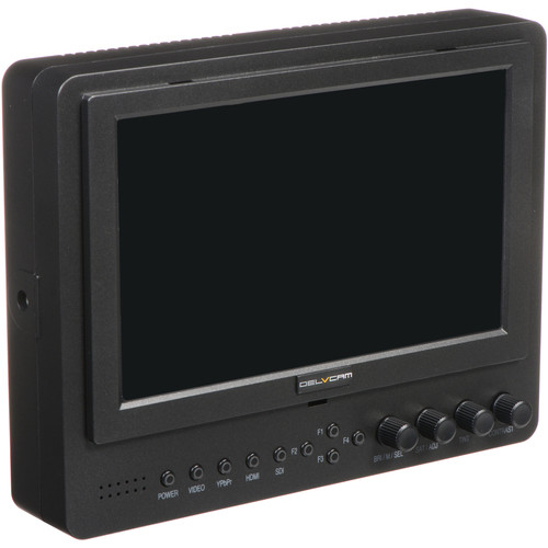 "Delvcam DELV-SDI-7-AB Advanced Function 7"" 3G-SDI Camera-Top LED Monitor & Gold Mount Battery Plate"