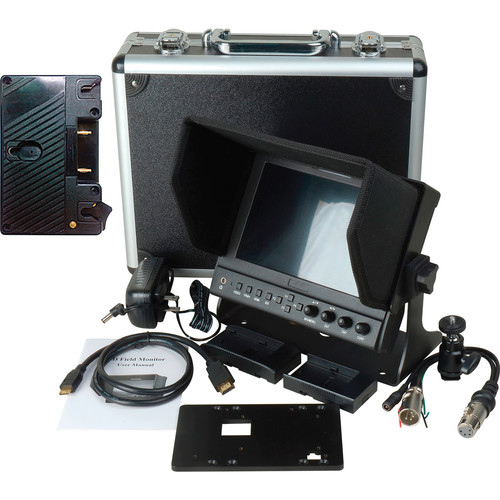 "Delvcam DELV-WFORM7SDIVM 7"" Camera-Top SDI Monitor with Video Waveform and Gold Mount Battery Plate"