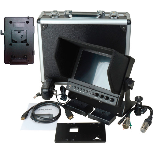 """Delvcam DELV-WFORM7SDIVM 7"""" Camera-Top SDI Monitor with Video Waveform and V-Mount Battery Plate"""
