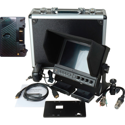 "Delvcam DELV-WFORM-7-AB 7"" Camera-Top Monitor with Video Waveform and Gold Mount Battery Plate Bundle"