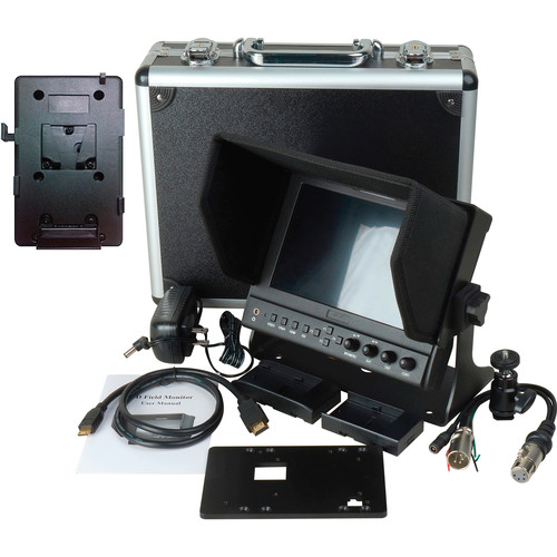 "Delvcam DELV-WFORM-7-VM 7"" Camera-Top Monitor with Video Waveform and V-Mount Battery Plate Bundle"