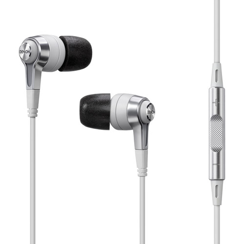 Denon AH-C620R In-Ear Headphones with Remote and Microphone (White)