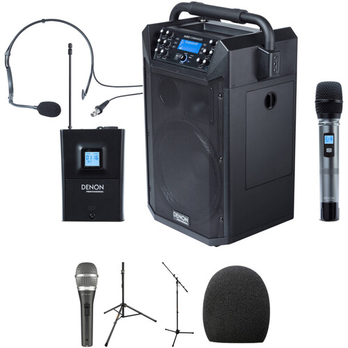Denon Audio Commander Mobile PA System with Two Wireless Mics, One Wired Mic, and Stands Kit