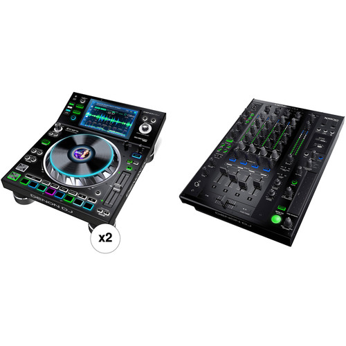 Denon DJ 4-Channel DJ Mixer with Two Dual-Deck Media Players Kit
