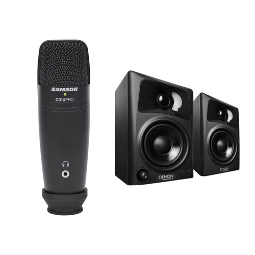 Denon DN-303S Active Desktop Monitor Speakers and USB Studio Microphone Kit