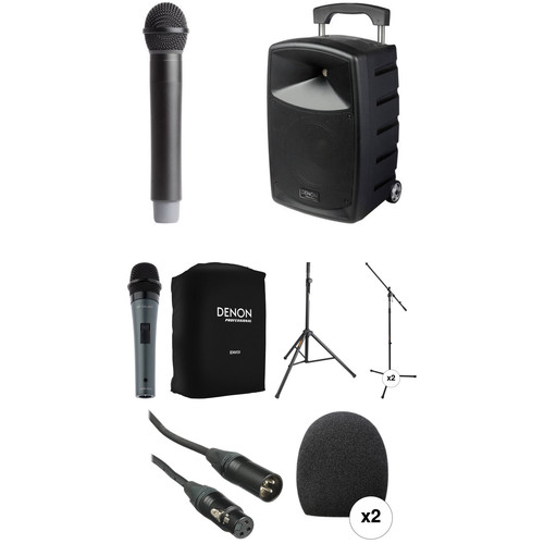 Denon Envoi Portable PA System Kit with Handheld Wired & Wireless Mics, Speaker & Mic Stands and Padded Speaker Bag