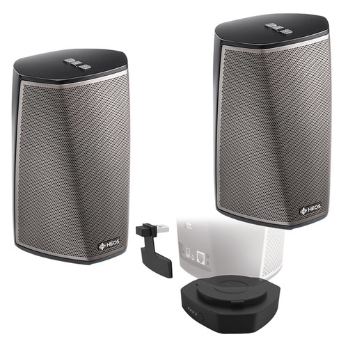 Denon HEOS 1 Series 2 Wireless Speaker Pair and Go Pack Kit (Black)