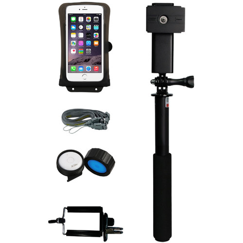 """DiCAPac Waterproof Action Case for Smartphone up to 5.8"""" and Floating Selfie Stick Kit"""