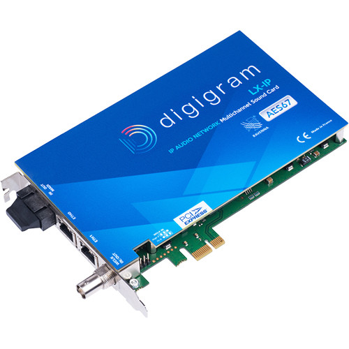 Digigram PCIE Card with 2X Ravenna/AES67 Ports (128 In/128 Out) for Windows and Linux
