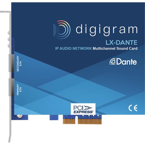 Digigram PCIE 4X/128 I/O Channels-Dante NW/2Redundant Ethernet Ports/AES67/ASIO(Windows)ALDS(Linux)Core Audio