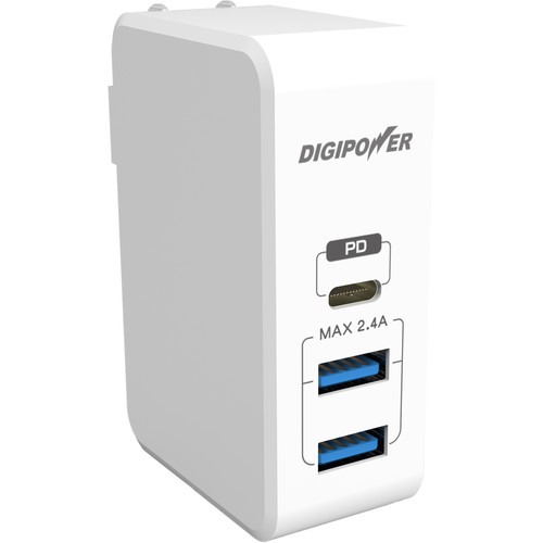 DigiPower 41W USB Type-C 3-Port AC Wall Charger