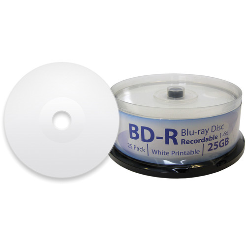 Digistor 25GB BD-R 6x Inkjet Printable Blu-ray Discs (Spindle, 25-Pack)