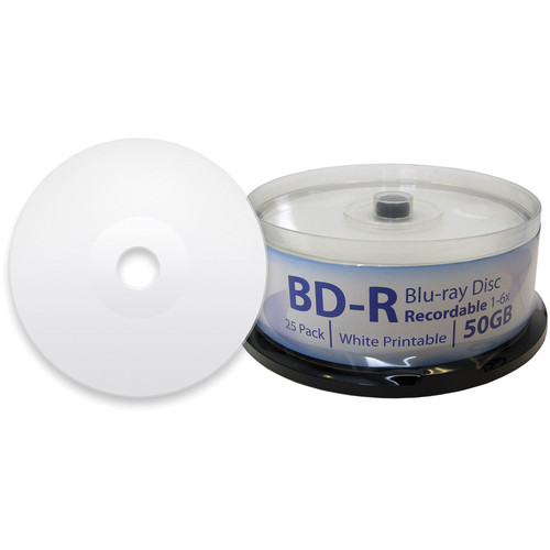 Digistor 50GB BD-R 6x Inkjet Printable Blu-ray Discs (Spindle, 25-Pack)