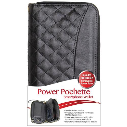 DIGITAL TREASURES Power Pochette Leather Wallet 3000mAh Power Bank (Black)