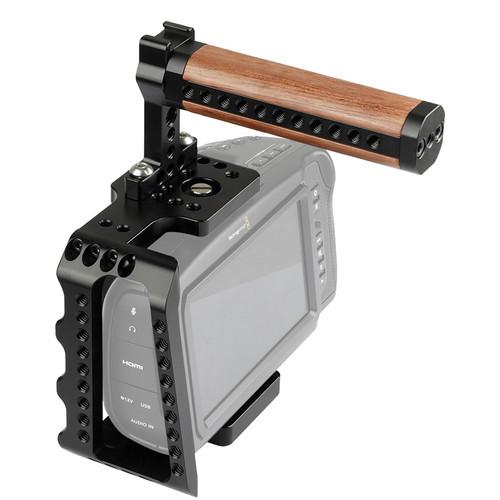 DigitalFoto Solution Limited Cage with Wooden Handle + Mini Magic Grip for Blackmagic Design Pocket Cinema Camera 4K