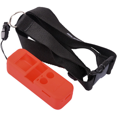 DigitalFoto Solution Limited Silicone Case With Lanyard Neck Strap For DJI Osmo Pocket (Red)
