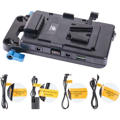 DigitalFoto Solution Limited V-Mount Power Plate with USB, 7.2V, 12V, and D-Tap Outputs and 15mm Rod Clamp