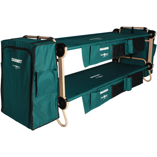 Disc-O-Bed Large Cam-O-Bunk Kit with Organizersand Cabinets (Green Canvas, Beige Frame)