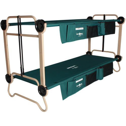 Disc-O-Bed Large Cam-O-Bunk Kit with Organizers and Leg Extensions (Green Canvas, Beige Frame)