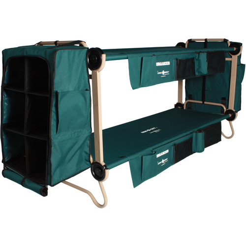 Disc-O-Bed Large Cam-O-Bunk Kit with Organizers, Cabinets, and Leg Extensions (Green Canvas, Beige Frame)