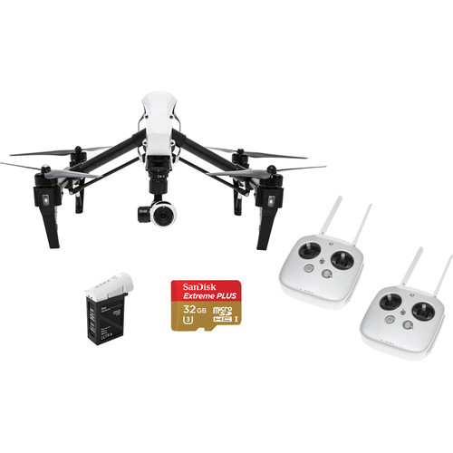 DJI Inspire 1 Bundle with Two Transmitters, Spare Battery and Memory Card