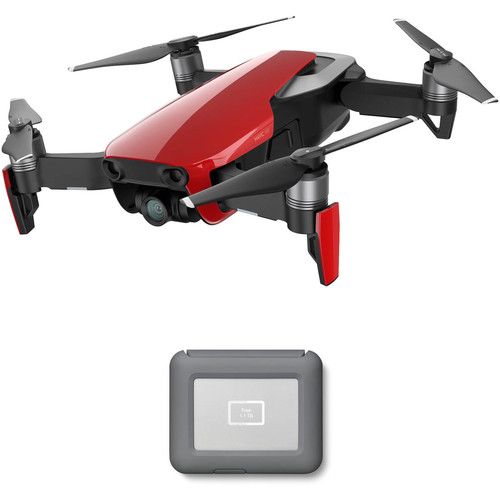 DJI Mavic Air Drone with LaCie 2TB Copilot BOSS Hard Drive Kit (Flame Red)