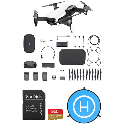 DJI Mavic Air Fly More Drone with 64GB Card & Landing Pad Kit (Arctic White)