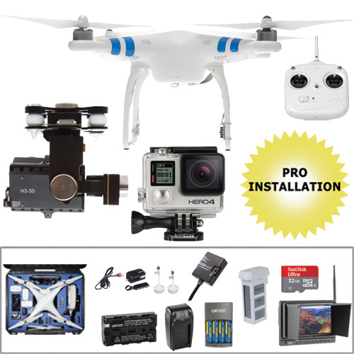 DJI Phantom 2 Pre-Assembled Bundle with GoPro HERO4 Silver (Wheeled Case)