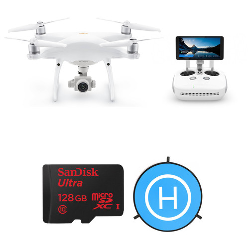 DJI Phantom 4 Pro+ v2.0 Drone Kit with 128GB microSDXC Card, Landing Pad & Case