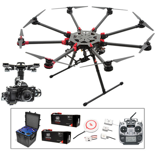 DJI Spreading Wings S1000+ Octocopter with Zenmuse Z15-A7, A2, Transmitter Batteries, and Case Kit