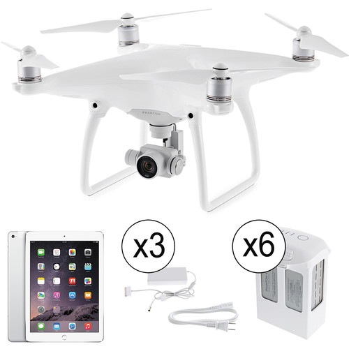 DJI Phantom 4 Kit with Batteries, Battery Chargers, and iPad Air 2