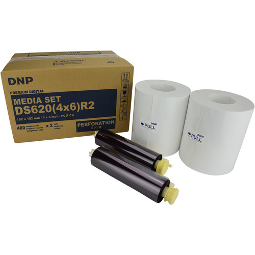 """DNP 4 x 6"""" Single Perforated Media Set for DS620A Printer (2-Pack)"""