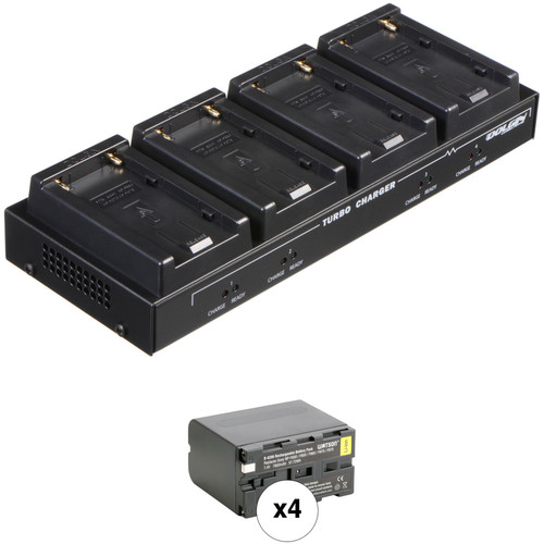 Dolgin Engineering TC40-SON Four-Position Charger Kit with 4 x Watson NP-F975 Batteries