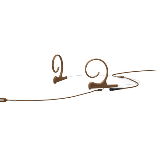 DPA Microphones d:fine Dual-Ear Headset Omnidirectional Microphone with Long Boom Arm and Hardwired 3.5mm Locking Ring Connector for Sennheiser Wireless Systems (Brown)