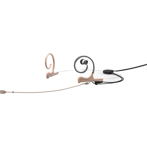 DPA Microphones d:fine Dual-Ear Headset Directional Microphone with Long Boom Arm and Microdot Termiantion with 4-Pin Hirose Connector for Audio-Technica Wireless Systems (Beige)