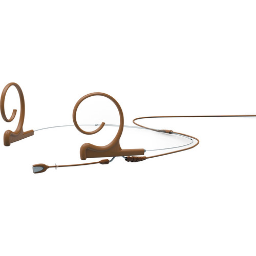 DPA Microphones d:fine Dual-Ear Headset Omnidirectional Microphone with Short Boom Arm and Microdot Termination with 4-Pin Hirose Connector for Audio-Technica Wireless Systems (Brown)