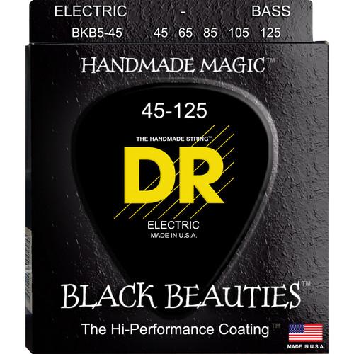 DR Strings K3 Black Beauties - Black-Coated Electric Bass Guitar Strings (Medium Gauge, 5-String Set)