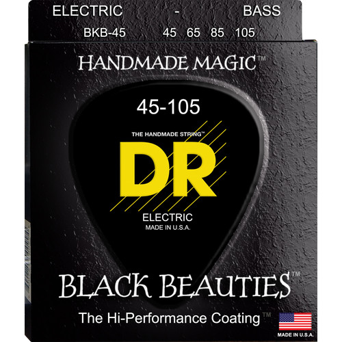 DR Strings K3 Black Beauties - Black-Coated Electric Bass Guitar Strings (Medium Gauge, 4-String Set)