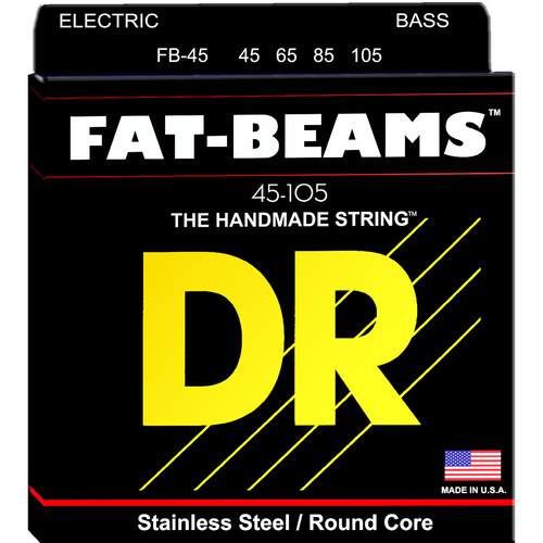 DR Strings Fat Beams Stainless Steel Electric Bass Guitar Strings (Medium, 45-105, 4-String Set)
