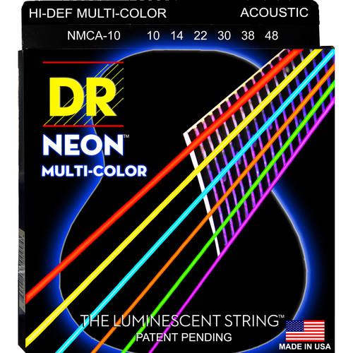 DR Strings NEON Hi-Def Multi-Color Coated Electric Guitar Strings (10-46, 6-String Set)