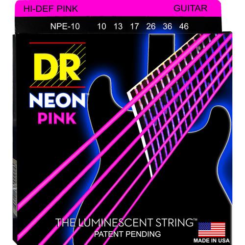 DR Strings NEON Hi-Def Pink Coated Electric Guitar Strings (10-46, 6-String Set)