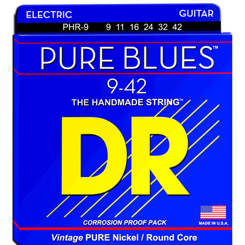 DR Strings Pure Blues Nickel Electric Guitar Strings (Lite, 9-42 Gauge)