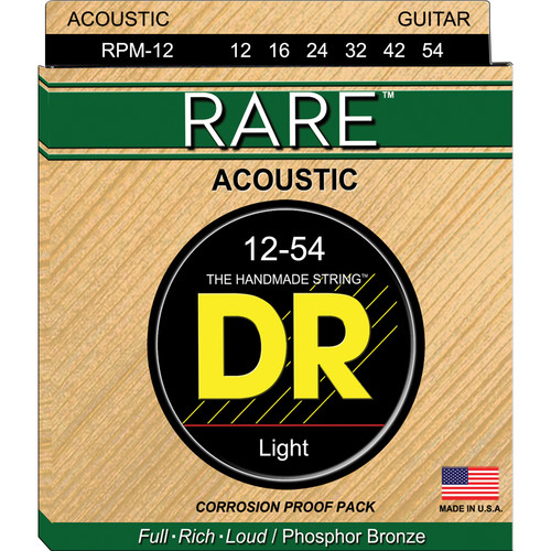 DR Strings Rare Phosphor Bronze Acoustic Guitar Strings (Medium, 12-5 Gauge)