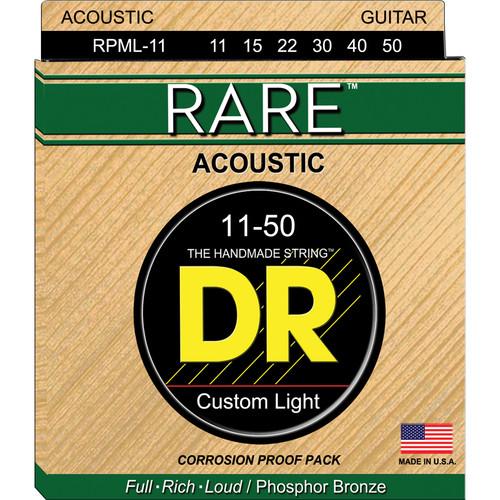 DR Strings Rare Phosphor Bronze Acoustic Guitar Strings (Medium Lite, 11-50 Gauge)
