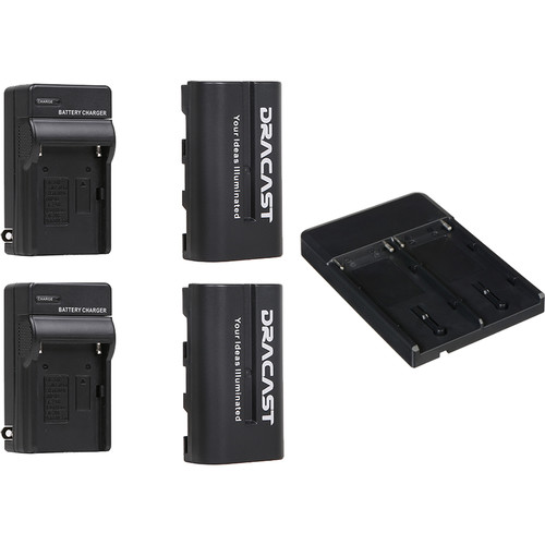 Dracast 2x NP-F 2200mAh Batteries and 2 Charger Kit with V-Mount to NP-F Converter