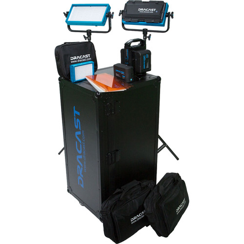 Dracast Bi-Color 3-Light Interview Kit with V-Mount Battery Plates
