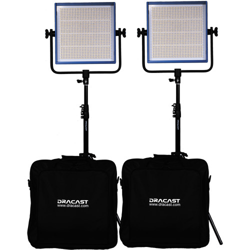 Dracast LED1000 Pro Bi-Color LED 2-Light Kit with Stands and V-Mount Battery Plates