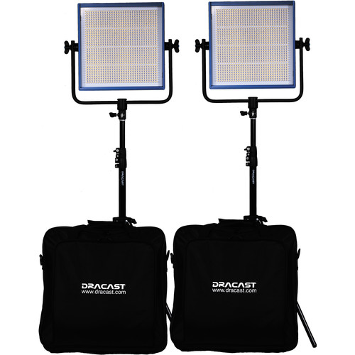 Dracast Dracast LED1000 Pro Daylight LED 2-Light Kit with Gold Mount Battery Plates and Stands