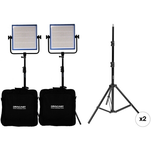 Dracast Dracast LED1000 Pro Daylight 2-Light Kit with V-Mount Battery Plates and Stands