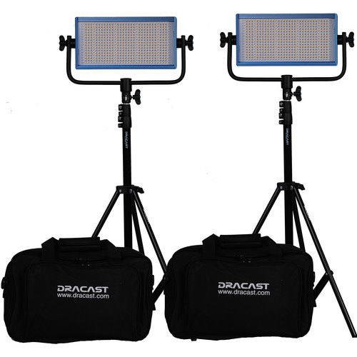 Dracast LED500 Pro Bi-Color LED 2-Light Kit with Gold Mount Battery Plates and Stands